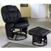 Leatherette Cushion Swivel Glider With Ottoman 264_ (CO)