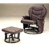 Plum Leatherette Cushion Glider Rocker W/Ottoman 2936 (CO)