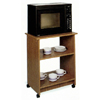 Oak Finish Microwave Cart With Casters 6337 (CO)