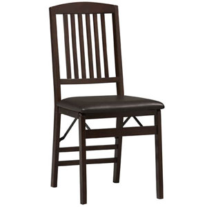 Triena Folding Chair in Espresso Set of (2) 01825(LN)