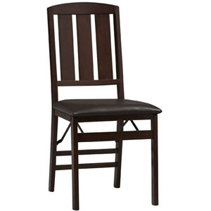 Triena Slat Back Folding Chair in Espresso Set of 2-01828ESP