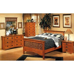 Bedroom furniture 5 piece mission style bedroom set 3291 for Arts and crafts bed plans