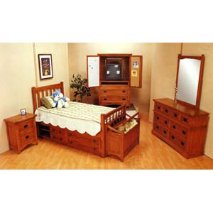 Bedroom Furniture 5 Piece Mission Style Oak Finish