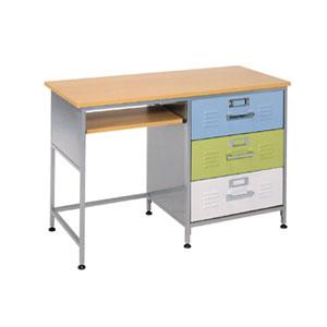 Writing desks locker style 3 drawer desk 38 6704 997 afa for Kids locker room furniture