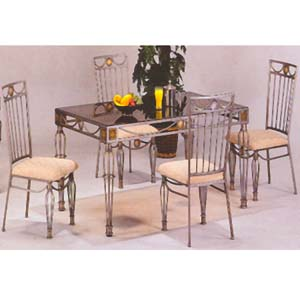 Glass Top Dining Set 5 Pc Neo Classic Dining Set 6277 36 60 WD NationalFur