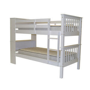 Bookcase Bunk Beds Solid Wood White Twin over Twin