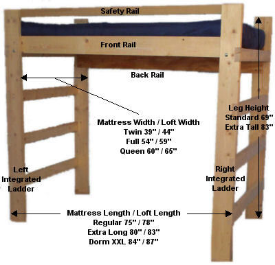 Wooden College Loft Bed Assembly Instructions @ NationalFurnishing.