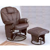 Plum Leatherette Cushion Swivel Glider With Ottoman 2653(CO)