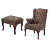 Button Tufted Wing Chair And Ottoman 3932A (CO)
