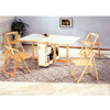 5-Pc Set Natural/White Table With Folding Chairs 4100 (CO)