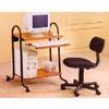 Black And Oak Computer Desk On Casters 7116 (CO)