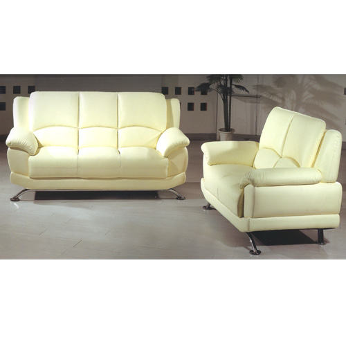 Ivory Leather Sofa Set S990-A (PK)