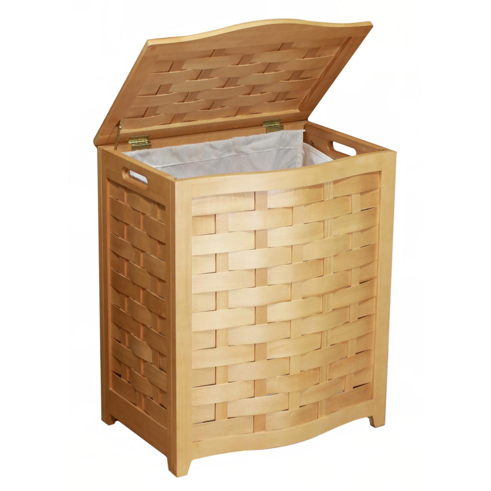 Natural Bowed Front Veneer Laundry Wood Hamper BHV0100N (OD)