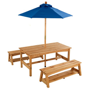 Table And Benches With Blue Umbrella 00043 (KK)