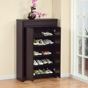 Studio 5-shelf Red Cocoa Shoe Cabinet 10340(O205)