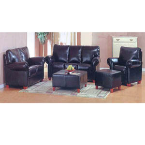 3 Pc Leather Sofa Set w/Free Coffee Table Ottoman 13008 (HB)