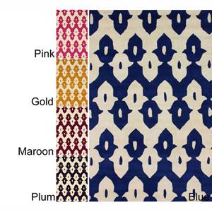 Handmade Modern Ikat Trellis Wool Rug 14753646(OFS207)
