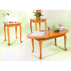 3-Pc Queen Anne Occasional Table Set 1601-OAK (ML)