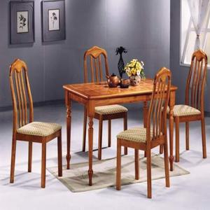5 Pcs Solid Wood Tile Top Dinette