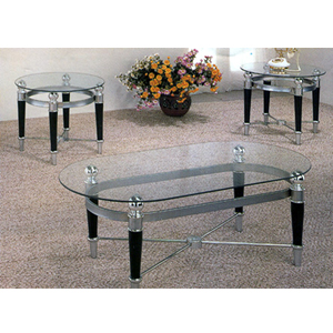 Glass occasional tables 3 pc matte chrome and black coffee table set 2330 co Black and chrome coffee table