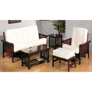 Sleigh Arm Wood Futon Sofa In Cherry Finish 2520C (IEM)