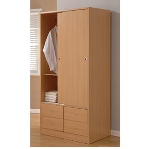 Sliding Door Wardrobe w/4 Drawers WD26039 (ESFS150)