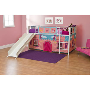 Princess Castle Twin Loft Bed with Slide 27943105(WFS)