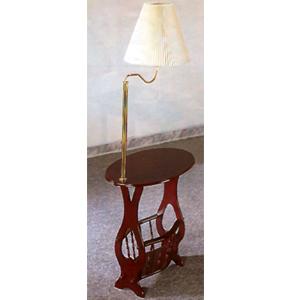 Cherry Finish Swing Arm Brass Lamp Magazine Table 3337 (CO)