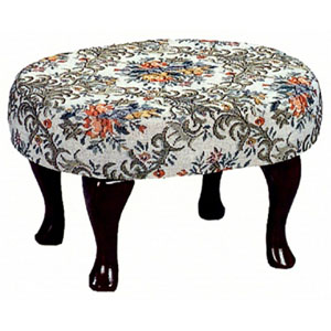 Cherry Finish Upholstered Foot Stool 3422 (CO)