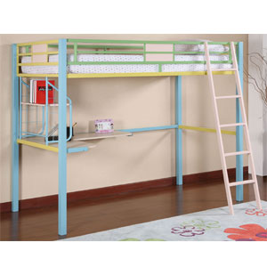 Sunday Funnies Twin Study Loft Bed 343-119 (PW)