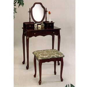 Cherry Finish Vanity Set With Tapestry Stool 3441 (COFS40)
