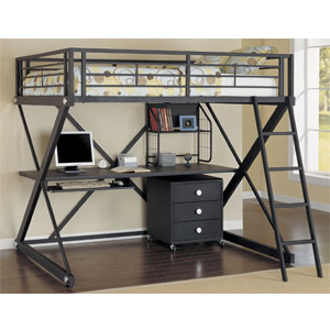 Z-Bedroom Full Size Study Loft Bed 354-117 (PW)