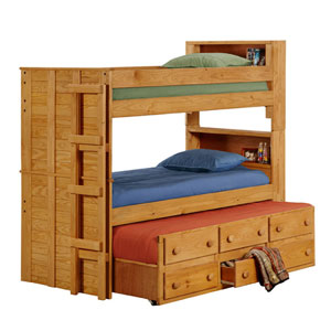 Wooden bunk beds solid wood twin bookcase bunk bed trundle 3905t pc - Solid wood trundle bed with drawers ...