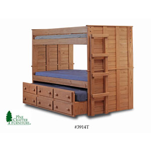 Solid Wood Bunk Bed w/Trundle Unit 3914_(PC)