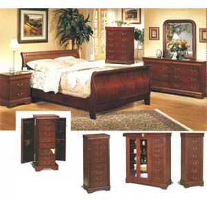 Louis Phillipe Cherry Finish Bedroom 3981_ (CO)