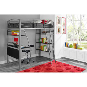 Twin Loft Bed with Integrated Desk and Shelves 4016427(OFS)