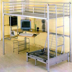 Computer Station Silver Twin Loft Bed 4027(ML)