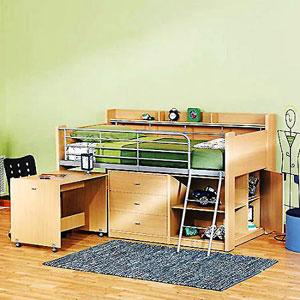 Charleston Storage Loft Bed With Desk 4031_(WFS)