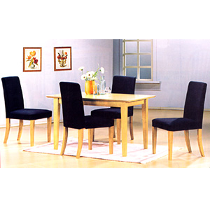 5-Pc Natural Finish Dinette Set 4158/4102BK (PJu)