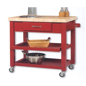 Butcher Block Top Work Island 43519RED-01-KD (LN)