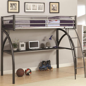 Metal Twin Loft Bed In Black/Silver 460110(COFS)