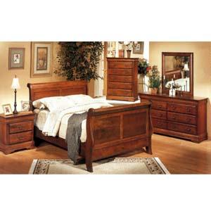 5-Pc Sleigh Bedroom Set In Oak Finish 4781_ (CO)