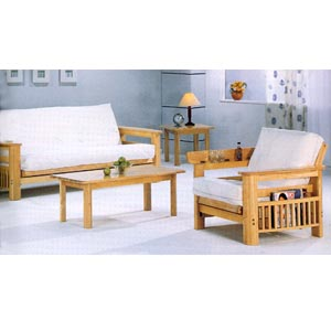 Natural Finish All Wood Futon Sofa 4846 (CO)