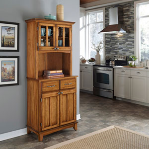 Cottage Oak Hutch Buffet with Wood Top 5001-0061-62(OFS)