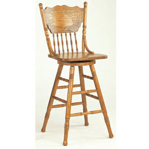 Oak Finish Press Back Bar Stool 5284an Co