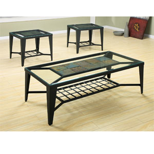 Glass Occasional Tables 3 Pc Slate And Glass Coffee End Table Set 55040 Wd