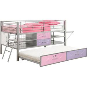 Junior Twin Locker Loft Bed with Shelves 5564096(WFS)