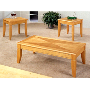 3-Pc Maple Parquet Coffee And End Table Set 5734 (CO)
