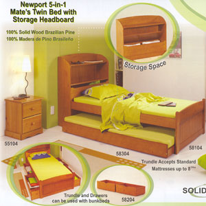 Newport 5-In-1 MateÃs Twin Bed 58104(PI)