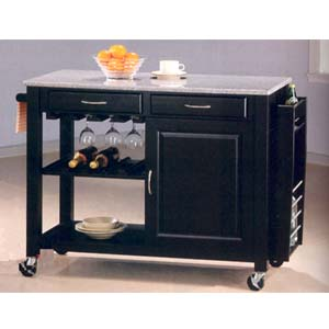 Black Wine Cart With Granite Top And Wheels 5870 (CO)